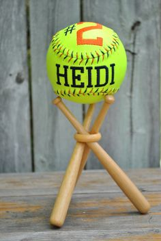 Embroidered Softball display stand personalized by iamnotageek, $31.00