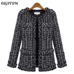 >> Click to Buy << Autumn winter Hot women jacket Slim thin  checkered Tweed coat Large size casual O-Neck Plaid Jacket with pocket loose outwear #Affiliate
