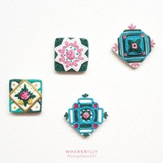 Polymer Clay Projects, Diy Clay, Diy Jewelry, Jewelry Making, Jewellery, Polymer Clay Embroidery, Japanese Jewelry, Clay Tutorials, Polymer Clay Earrings