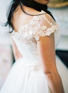 Wedding Gown by Candy Anthony | #Lace | See the wedding on SMP ~ http://www.StyleMePretty.com/2014/01/21/whimsical-london-warehouse-wedding/ Jodie Chapman Photography