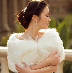 Ivory Faux Fur Wrap Bridal Bolero Shawl Wedding Shrug Stole Jacket Accessories BSF205, FREE SHIPPING