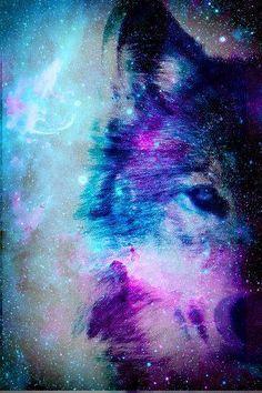 #galaxy #wolf #blue #violet