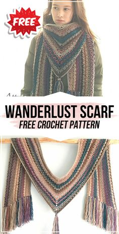 crochet Wanderlust Scarf free pattern - easy crochet scarf pattern for beginners # crochet scarves free patterns simple crochet Wanderlust Scarf free pattern Stitch Crochet, Mode Crochet, Crochet Gratis, Crochet Motifs, Crochet Shawl, Easy Crochet, Crochet Stitches, Crochet Hooded Scarf, Crochet Scarves