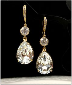 Gold Bridal Earrings Teardrop Swarovski Crystal Earrings White Crystal Yellow Gold Earrings Diamond Look Wedding Jewelry Bridesmaid Gift. $39.99, via Etsy.