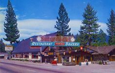 """Swiss Chalet Restaurant - South Lake Tahoe, CA. The """"Swiss Chalet"""" back in the 60s! (""""Restaurant and Bakery""""). When the Swiss family Baumann bought """"Schmidt's Bakery"""" and opened their own South Lake Tahoe restaurant, the lunch menu featured Wienerschnitzel for $2.75 and coffee for a dime."""
