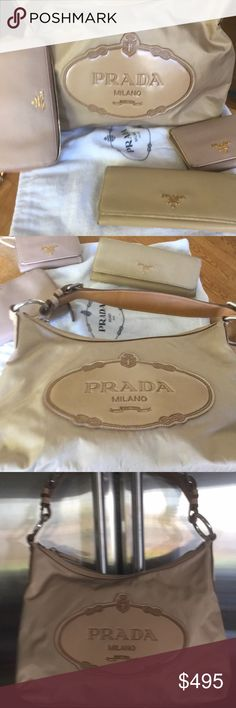 NWOT PRADA LOGO Beige&Tan Nylon Shldr Bag W patent This beauty is/was my sis in laws and she's NEVER used it 🙄 It's super cute & goes anywhere ANYTIME of the year w ANYTHING! Top zips closed and inside there's a zipper pocket. Prada dust bag & authenticity cards are included. A perfect GIFT😍👜👍All 3 Matching wallets pictured are ALSO Posted in my Closet! Prada Bags Shoulder Bags