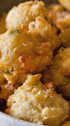 Our Shrimp Fritters recipe are the ideal appetizer. These little fritters are light and fluffy, and paired with a spicy honey drizzle. Fish Recipes, Seafood Recipes, Appetizer Recipes, Cooking Recipes, Party Appetizers, Cheese Appetizers, Popular Appetizers, Jalapeno Recipes, Freezable Appetizers