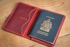 Cherry Leather Passport Case