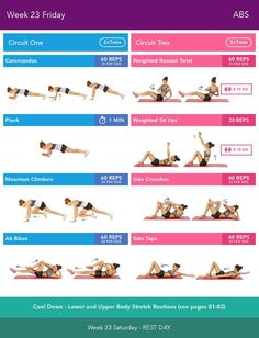 Week 23 Friday  Bikini Body Guide 2.0 by Kayla Itsines, weeks 13-24 (complete)