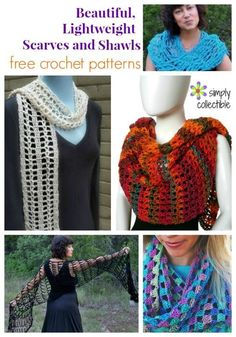 5 Beautiful, Lightweight Scarves and Shawls free crochet patterns  When you need to make something with just the right impact to complete an outfit or a little wrap for the beach, you can count on this list of scarves and shawls free crochet patterns. They will hit the spot- especially when you need something quick.  The simplicity of these SimplyCollectible... designs will allow you to relax and just go with the flow. #crochet #diy #freecrochetpatterns