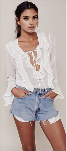 KMD KOMODA Solid White Casual Women Blouse Ruffles Lace Up Sweet Top Shirt Flare Sleeve Slim Female Chiffon Blouse ** Shop 4 Xmas n Locate this beautiful piece simply by clicking the VISIT button. Cheap Blouses, Blouses For Women, White Ruffle Blouse, Sheer Blouse, Ruffle Top, Look Boho, Tie Front Blouse, White Casual, For Love And Lemons