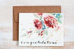 Congratulations card Envelope LinerHandPainted Watercolor