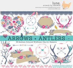 Wildflower Clipart Antlers Arrows Branches by FRANCEillustration, $6.00