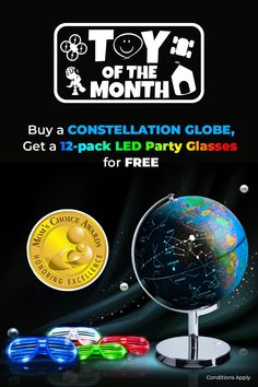 It's an LED party this September! Meet our Toy of the Month, the 3-in-1 LED World Globe—buy this cool STEM toy today and get a free LED party sunglasses set for FREE. Offer runs until September 30 only 😎  #LEDglobe #globe #LED #STEM #FunForAll #USAToyz Party Favors For Kids Birthday, Girl Birthday, Birthday Parties, Dinosaur Party, Unicorn Party, Remote Control Drone, Free Mom, Taking Selfies, World Globes