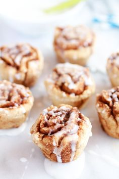 Mini Whole Wheat Cinnamon Buns. Glazed with a mixture of whipped cream cheese, powdered sugar and vanilla... delicious!