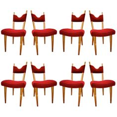 Jean Royere Exceptional set of 8 Documented Chairs Covered In Red Velvet