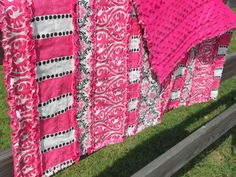 Hot Pink, Black and White Minky Rag Quilt - Baby Blanket.