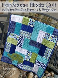 This quilt is perfect for a beginner...Pieces by Polly: Easy Half-Square Blocks Quilt - Easy Pre-Cut Cuddle Cake and Layer Cake Pattern