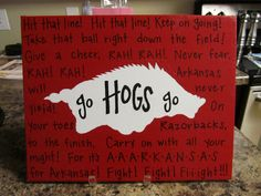 Arkansas Razorback Fight Song Canvas Painting by jlucille on Etsy https://www.etsy.com/listing/76833897/arkansas-razorback-fight-song-canvas