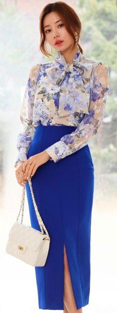 dfa292b9f1 StyleOnme Twin Slit High-Waisted Pencil Skirt  blue  pencilskirt  chic   feminine