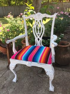 Mexican Chair Serape Blanket Accent