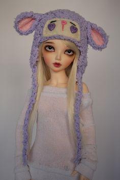 Purple Lamb Hat for Minifee BJD by guppykisses.deviantart.com on @deviantART