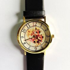 Floral Watch, Vintage Style Leather Watch, Women Watches, Boyfriend Watch, Black, Tan, White #watch #style
