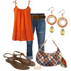 Orange cami paired with denim capris. Nice!