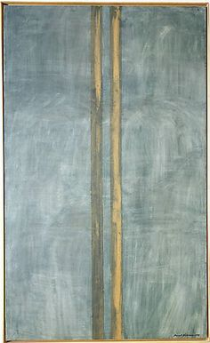 """Barnett Newman, Concord, 1949  From the Metropolitan Museum of Art:  In 1948 Barnett Newman began painting in a new and unique format. Abandoning the use of various other abstract elements on the canvas, Newman instead laid down one or more vertical bands, usually with the help of masking tape. These """"zips,"""" as he came to call them, become the organizing principle behind the work, the decisive elements that structure the entire picture."""