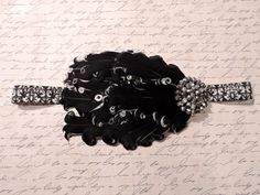 Black and White Feather Headband with Damask by GettinGussiedUp