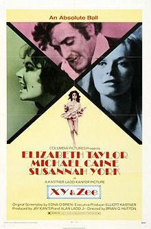 Elizabeth Taylor starred with Michael Caine and Susannah York in Zee and Co, aka X, Y and Zee (1972)