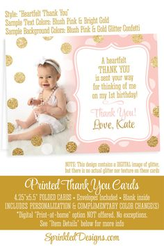 Photo Thank You Cards Personalized Custom by SprinkledDesign