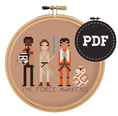 Download a pattern to cross stitch the next time you watch The Force Awakens.