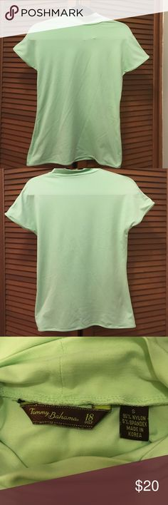 Tommy Bahama green golf shirt small Light green Tommy Bahama golf shirt. Has a mock turtleneck neck. Size small. 95% nylon 5% spandex. Tommy Bahama Tops