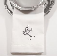 Bird Embroidered Cloth Napkins set of 4 by WhiteTulipEmbroidery