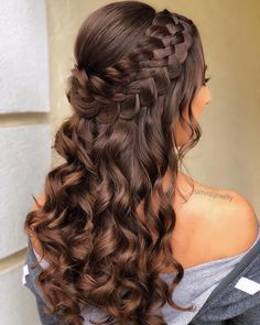 Braided Half Up Updo For Wavy Hair ❤️Hairstyles for long hair are really popular right now. See our 18 amazing Christmas ideas of half up half down hairstyles for long hair. ❤️ homecoming hairstyles 18 Nice Holiday Half Up Hairstyles for Long Hair Down Hairstyles For Long Hair, Pretty Hairstyles, Homecoming Hairstyles Down, Hairstyles For Sweet 16, Prom Hairstyles Half Up Half Down, Half Up Half Down Hair Prom, Prom Hair Down, Half Updo With Braid, Hairstyles For A Party