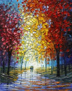 """Browse Artwork – Park West Gallery """"Our Favorite Memory"""" oil painting on canvas created with palette knife by Slava Ilyayev – Park West Gallery Oil Painting Trees, Texture Painting On Canvas, Oil Painting Abstract, Canvas Art, Painting People, Painting Frames, Painting Portraits, Landscape Art, Landscape Paintings"""