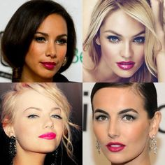 Leona Lewis, Candice Swanepoell, Emma Stone and Camilla Belle are all looking gorgeous with bright pink lips! Click on the picture to get the look! - via Flutter And Pout