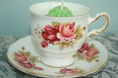 Elegant English vintage teacup with saucer filled door HomiArticles