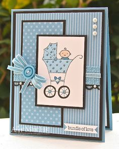 Stampin' Anne: Dynamic Duos #4 - Monochromatic, Baby! Cute little blue card