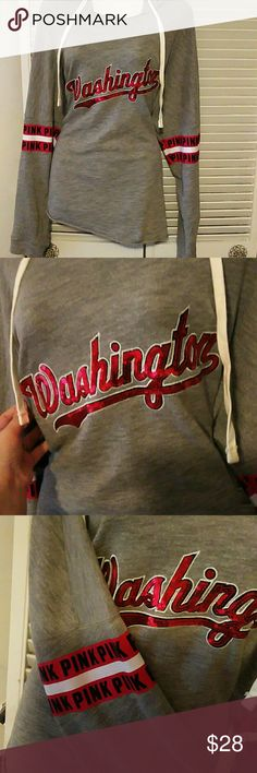 VS PINK MLB hoodie EUC  Washington Nationals vs pink pullover hoodie Size large Fits a little loose No stains, rips or missing sequins Excellent condition PINK Victoria's Secret Tops Sweatshirts & Hoodies