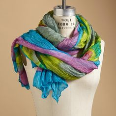 "ART IN MOTION SCARF -- Long lavish length of silk, hand brush painted and tie-dyed in vibrant colors. Dry clean. Imported. Exclusive. Approx. 39-1/4""W x 71""L."