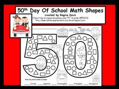A+ 50th Day of School: Math Shapes by Regina Davis   Teachers Pay Teachers