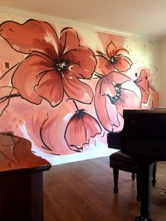 poppy floral mural in a traditional Cape Cod by Meme Hill Studio using Melon Coral, Henna Shade and Fireweed.Modern poppy floral mural in a traditional Cape Cod by Meme Hill Studio using Melon Coral, Henna Shade and Fireweed. Wall Painting Decor, Mural Wall Art, House Painting, Wall Decor, Painted Wall Murals, Art Walls, Wall Collage, Mural Floral, Flower Mural