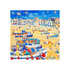 Boats and Ropes St Ives Signed Print by Cornish Artist John Dyer John Dyer, Mexican Artwork, Colourful Art, St Ives, Sign Printing, Ropes, Naive, Fishing Boats