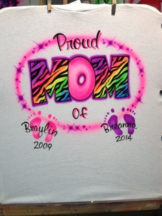 Airbrush Zebra Mom with Children's Names & Birth Year