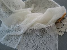 Hand knitted rectangular shawl / stole, cloudy white colour, luxury Kid Mohair and Silk shawl, lace pattern.
