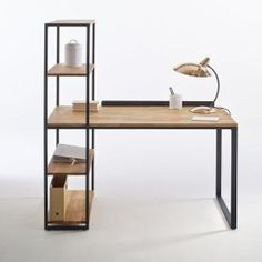 Hiba Steel/Solid Oak Desk with Shelving Unit LA REDOUTE INTERIEURS Industrial style furniture in solid joined oak and metal, providing 2 pieces of furniture in one. The Hiba desk-shelving unit combines contemporary. Solid Oak Bookcase, Solid Oak Desk, Bookcase Desk, Desk Cabinet, Desk With Shelves, Metal Solid, Shelf Desk, Cabinet Ideas, Wall Shelves