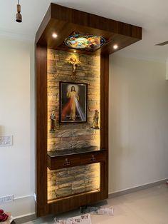 Pooja Room Door Design, Washroom Design, Home Altar Catholic, Decoration Entree, Altar Decorations, Temple Design For Home, Mandir Design, Altar Design, Pooja Rooms