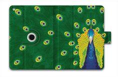 For Apple iPad Air Case Leather iPad 5 Folio Case Multi Smart Cover - Green Peacock a-62138